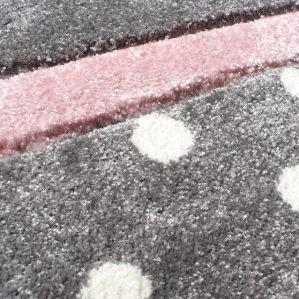 19652 kinderteppich happy rugs point silbergrau rosa 3 600x600 - Dywan dziecięcy szary w kropki