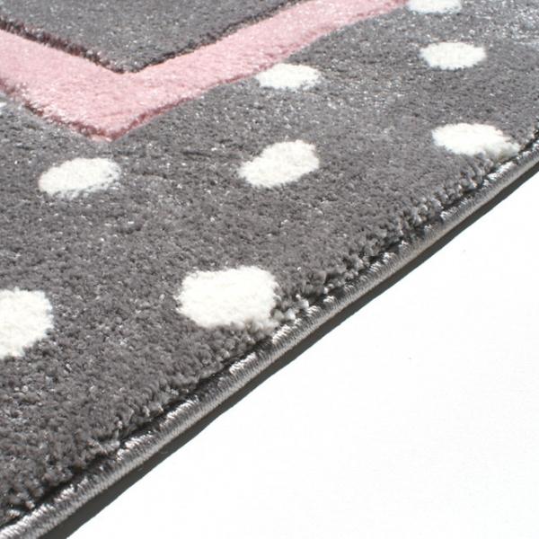 19654 kinderteppich happy rugs point silbergrau rosa 5 600x600 - Dywan dziecięcy szary w kropki