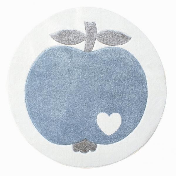 Dywan dziecięcy okrągły niebieskie jabłko