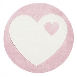 Dywan dziecięcy okrągły różowy serce