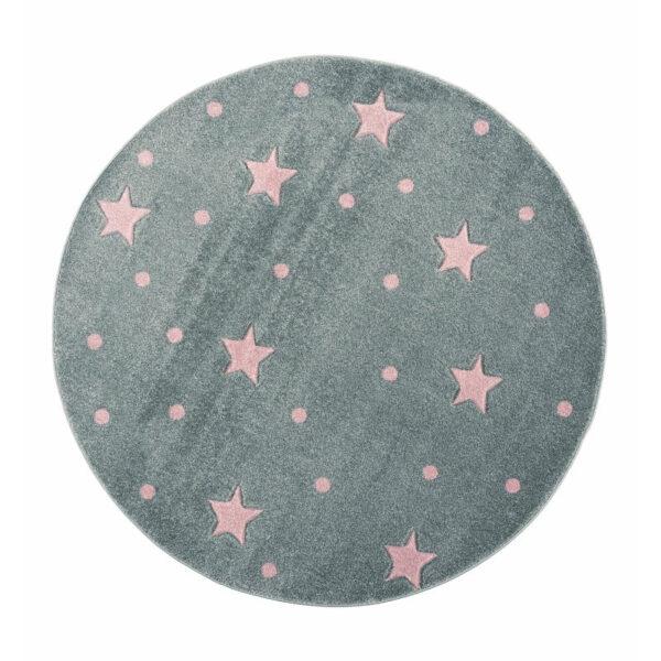Dywan okrągły szary w różowe gwiazdki galaxy