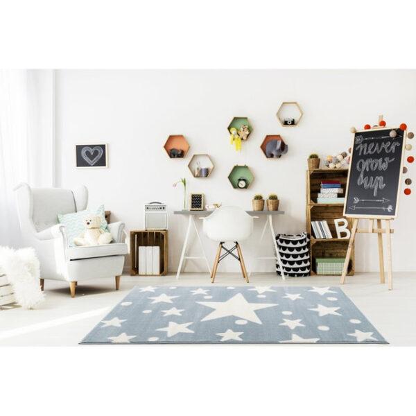 Dywan dla dzieci niebieski w gwiazdy