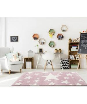 31700 kids rug happy rugs estrella pink white 100x160cm 5 300x360 - Dywan dla dzieci różowy w gwiazdy