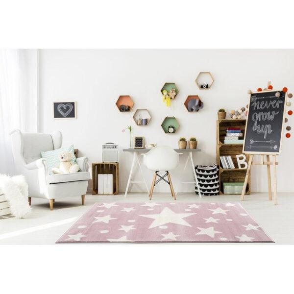 31700 kids rug happy rugs estrella pink white 100x160cm 5 600x600 - Dywan dla dzieci różowy w gwiazdy