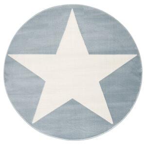 Dywan niebieski okrągły z białą gwiazdą