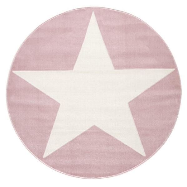 Dywan różowy okrągły z białą gwiazdą