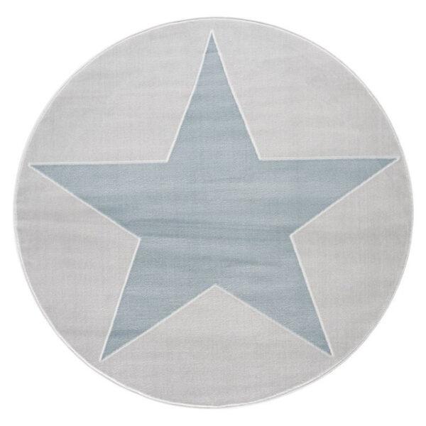 Dywan szary okrągły z niebieską gwiazdą