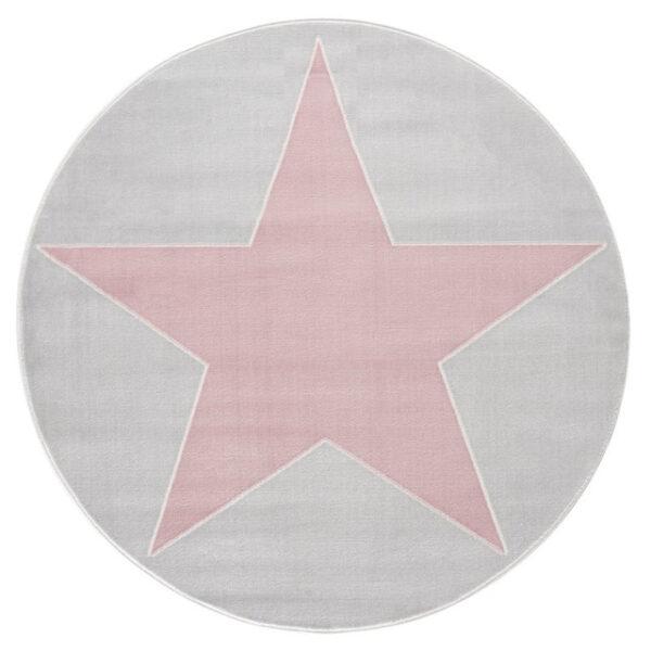 Dywan szary okrągły z różową gwiazdą
