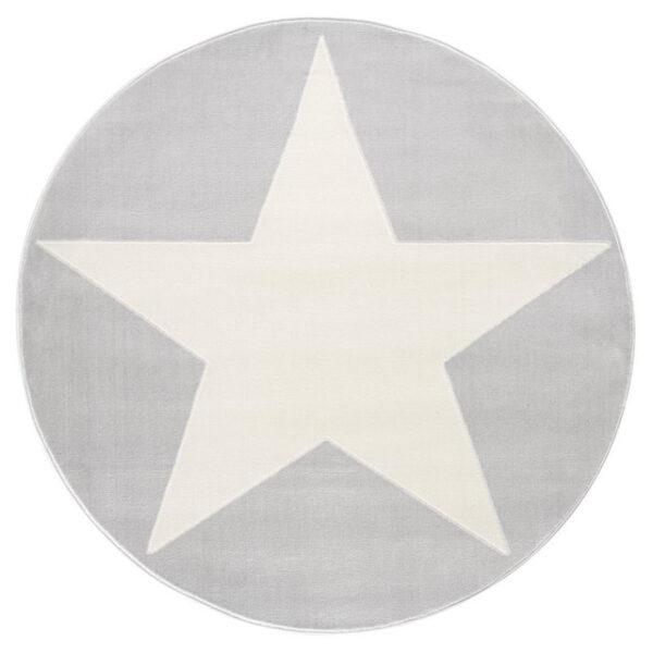 Dywan szary okrągły z białą gwiazdą