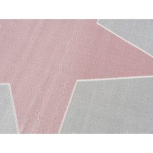 Dywan dziecięcy szarosrebrny z różową gwiazdą