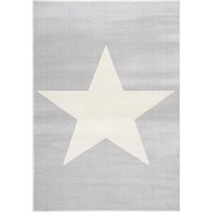 Dywan dziecięcy szarosrebrny z białą gwiazdą