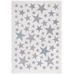 Dywan dziecięcy kremowy w błękitne gwiazdki