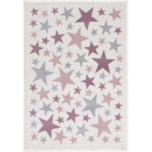 Dywan dziecięcy kremowy w różowe gwiazdki