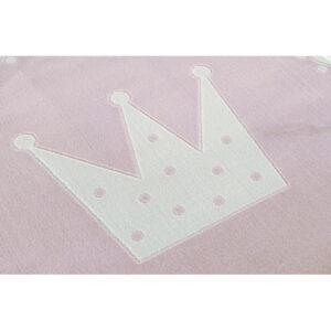 32314 kids rug happy rugs crown pink white 133 cm rund 2 300x300 - Dywan okrągły różowy korona