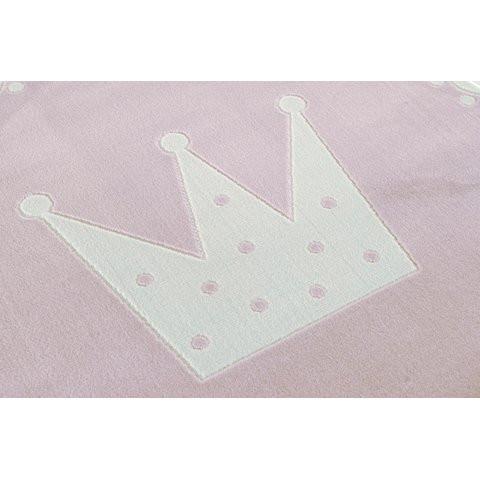 32314 kids rug happy rugs crown pink white 133 cm rund 2 - Dywan okrągły różowy korona