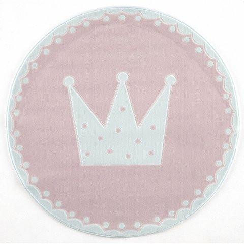 Dywan szary okrągły różowy korona