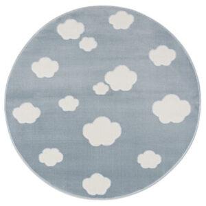 Dywan niebieski okrągły chmurki