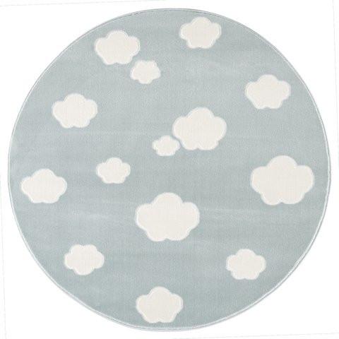 Dywan miętowy okrągły chmurki
