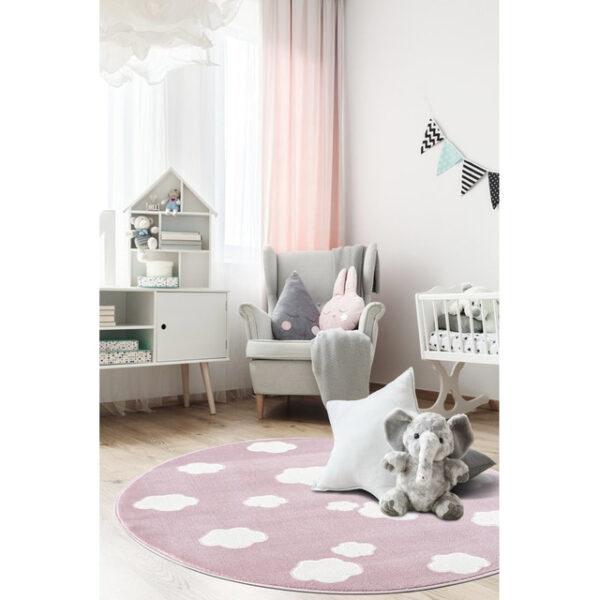 Dywan różowy okrągły chmurki