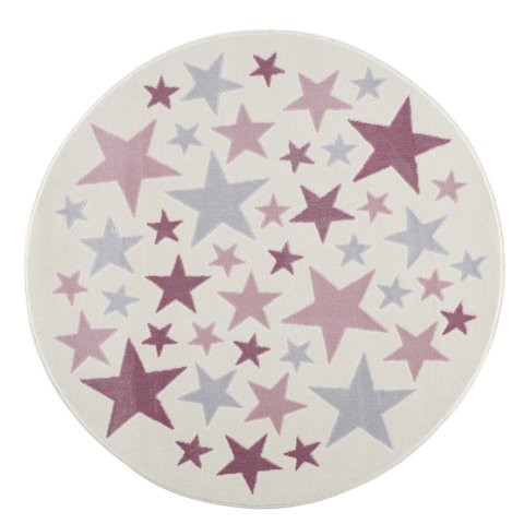Dywan kremowy okrągły różowe gwiazdki