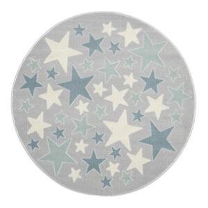Dywan szary okrągły gwiazdki