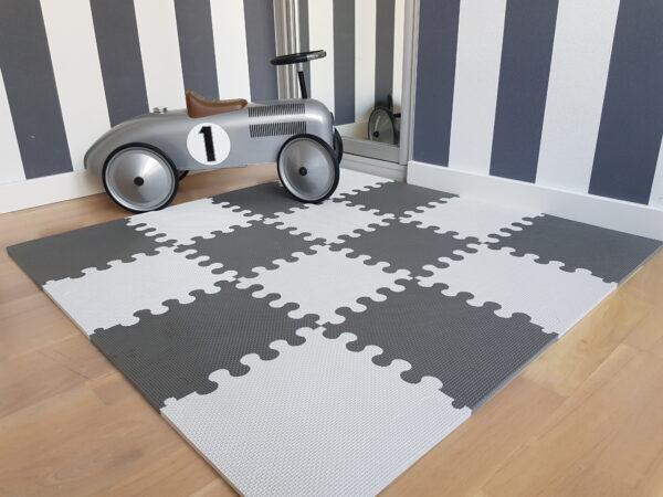 Mata do zabawy dla dzieci mini puzzle szare L