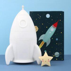 Duża lampka nocna dla dzieci rakieta