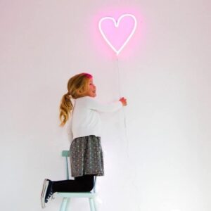 Świecące serduszko neon świetny różowy