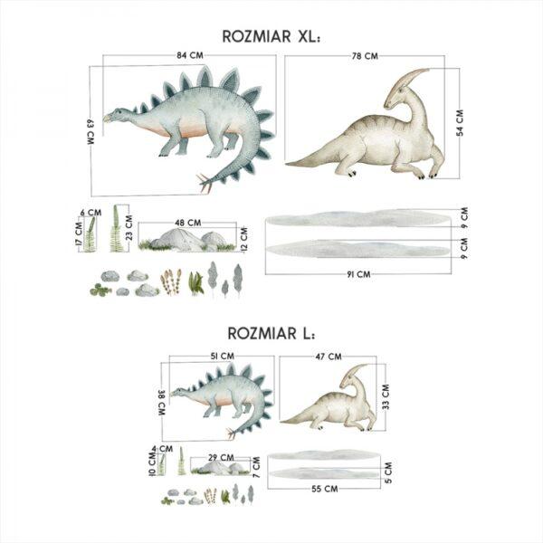 Naklejki na ścianę dinozaury zestaw DK397