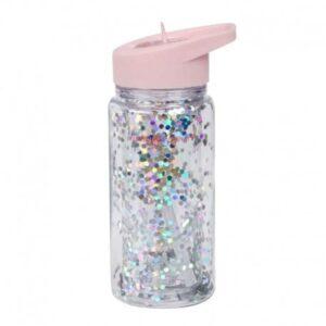 Bidon ze składanym ustnikiem Glitter pink/silver