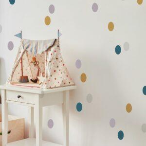 Naklejki na ścianę confetti musztarda