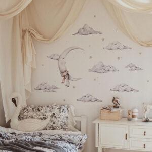 Naklejki na ścianę baśniowy księżyc i chmurki