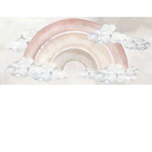 Naklejka na ścianę baśniowa pudrowa tęcza