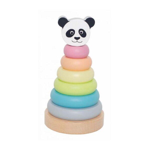 Drewniana zabawka wieża piramida panda