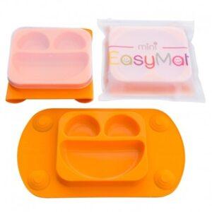 Silikonowy talerzyk z podkładką Orange
