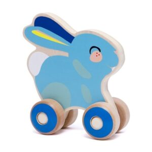 Drewniana zabawka króliczek na kółkach