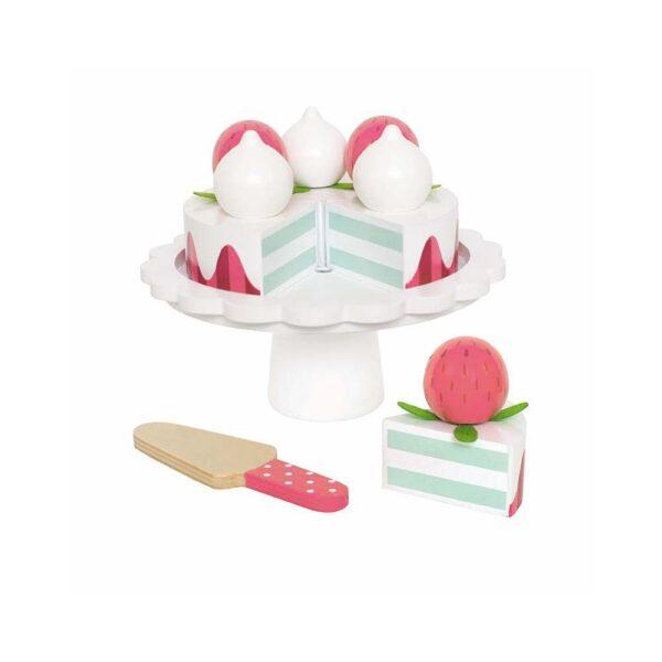 Zabawka drewniana tort truskawkowy na paterze