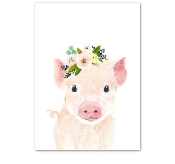Plakat na ścianę Świnka z wianuszkiem