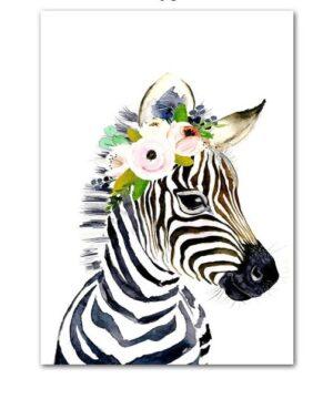 Plakat na ścianę Zebra z wianuszkiem