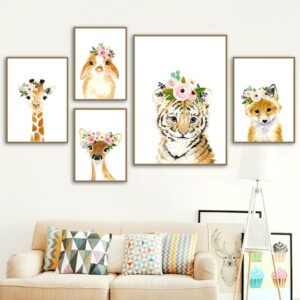 Giraffe Elephant Zebra Fox2 Rabbit Tiger Nursery Wall Art Canvas Painting Posters And Prints Wall Pictures 300x300 - Plakat na ścianę Słonik z wianuszkiem