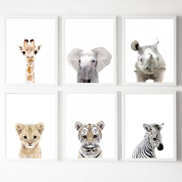 Giraffe elephant lion tiger zebra Nursery Wall Art Canvas Painting Nordic Posters And Prints Wall Pictures 600x600 - Plakat na ścianę Small Elephant