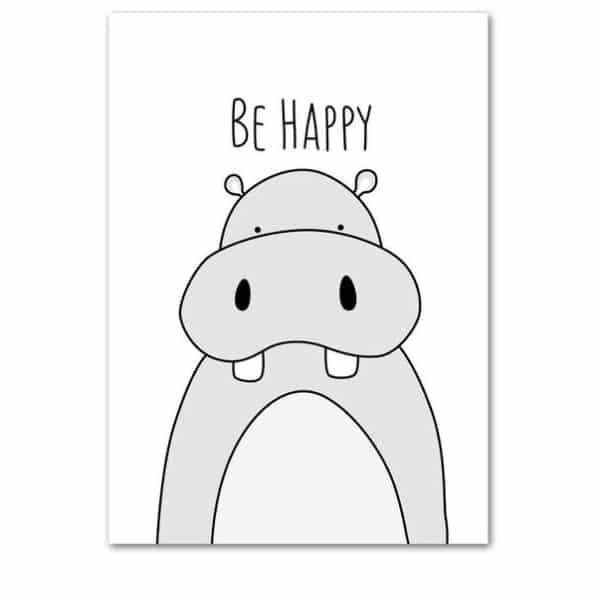 Plakat na ścianę Be Happy monochrome