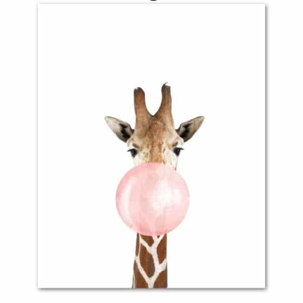 Zebra Giraffe Koala Bubble 3Nordic Posters And Prints Wall Art Print Canvas Painting Animal Wall Pictures jpg 640x640 600x600 - Plakat na ścianę żyrafa z gumą balonową