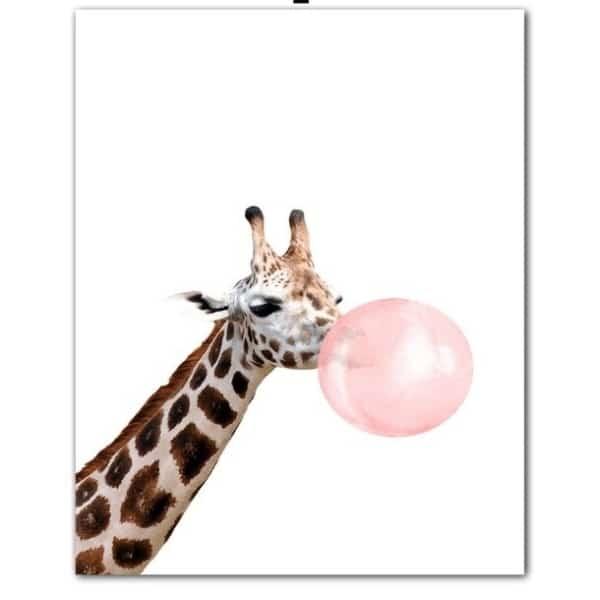 Plakat na ścianę Ĺ»yrafa z gumą balonową