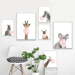 Zebra Giraffe Koala Bubble Nordic Posters And Prints Wall Art Print Canvas Painting Animal Wall Pictures 300x300 - Plakat na ścianę Zebra z gumą balonową