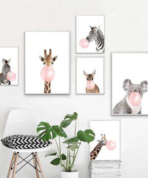 Zebra Giraffe Koala Bubble Nordic Posters And Prints Wall Art Print Canvas Painting Animal Wall Pictures 300x360 - Plakat na ścianę Zebra z gumą balonową