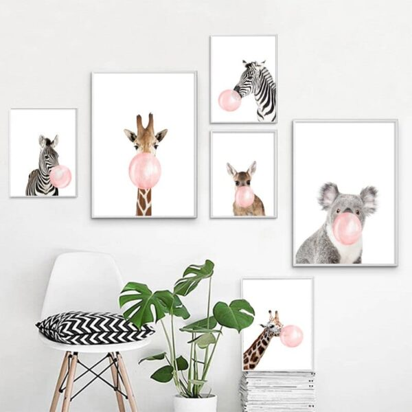 Zebra Giraffe Koala Bubble Nordic Posters And Prints Wall Art Print Canvas Painting Animal Wall Pictures 600x600 - Plakat na ścianę Sarenka z gumą balonową