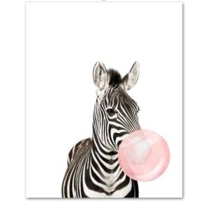 Plakat na ścianę Zebra z gumą balonową