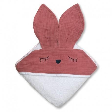 Ręcznik dla dziecka Sleepy Bunny Pink Dark