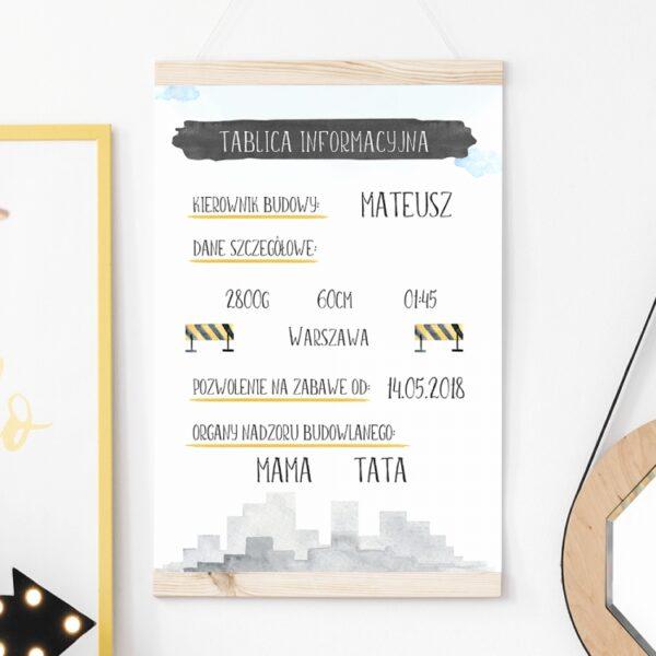 Plakat metryczka tablica informacyjna